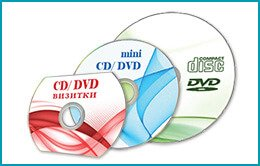 CD-R, CD-ROM, DVD-R, DVD-ROM, mini CD, mini DVD, business card